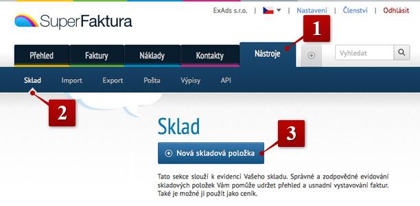 Sklad v superFaktura.cz