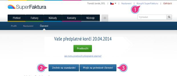 Předplatné (členství) v SuperFaktura.cz