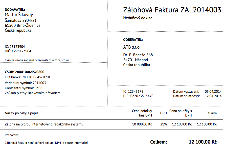 Vzor zálohové faktury v SuperFaktura.cz