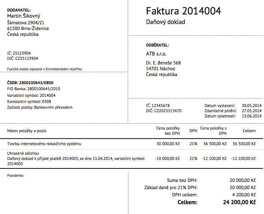 vzor vyúčtovací faktury v SuperFaktura.cz