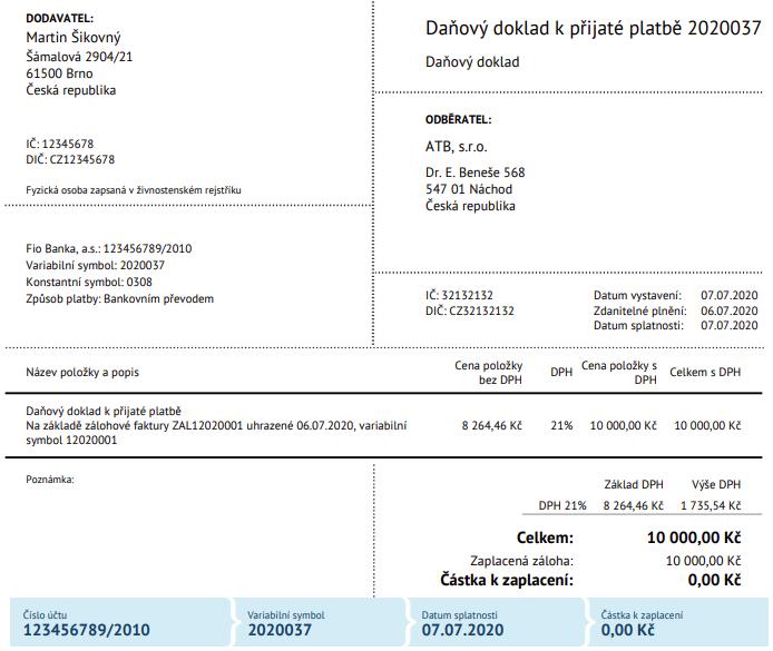 Daňový doklad k přijaté platbě na základě zálohové faktury