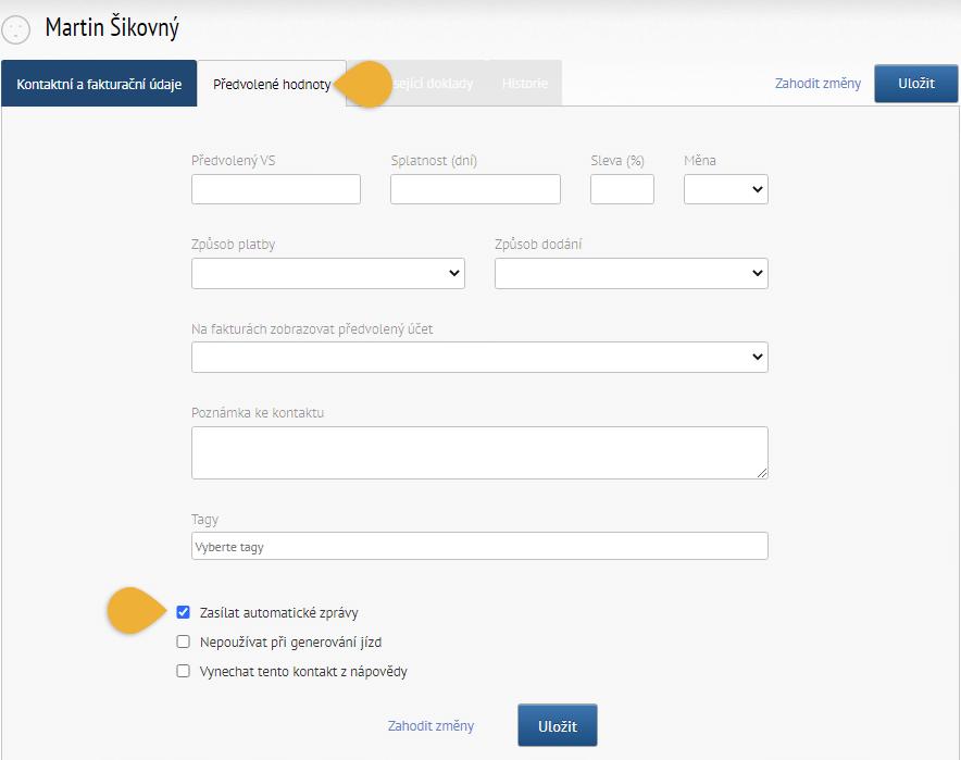 Karta předvolených hodnot při kontaktu - vypnutí zasílání automatických zpráv